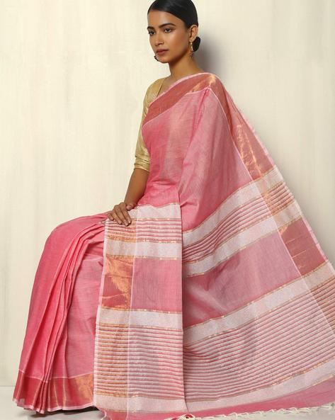 South Cotton Saree With Zari Border And Striped Pallu By Indie Picks ( Pink )