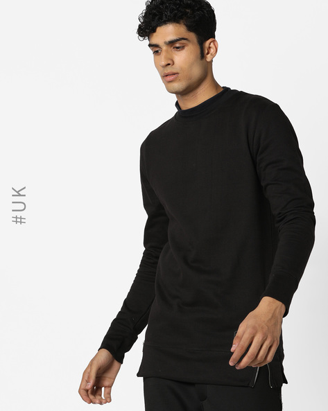 Crew-Neck Sweatshirt With Side Zips By BRAVE SOUL ( Black )