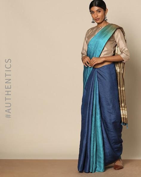 Pure Silk Tussar Desi Shibori Saree By Rudrakaashe-MSU ( Blue ) - 460128261001
