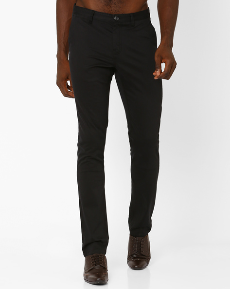 Flat-Front Slim Fit Trousers By NETPLAY ( Black )