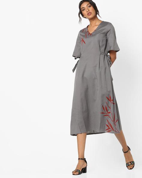 A-line Dress With Tie-Ups By AJIO ( Charcoal )