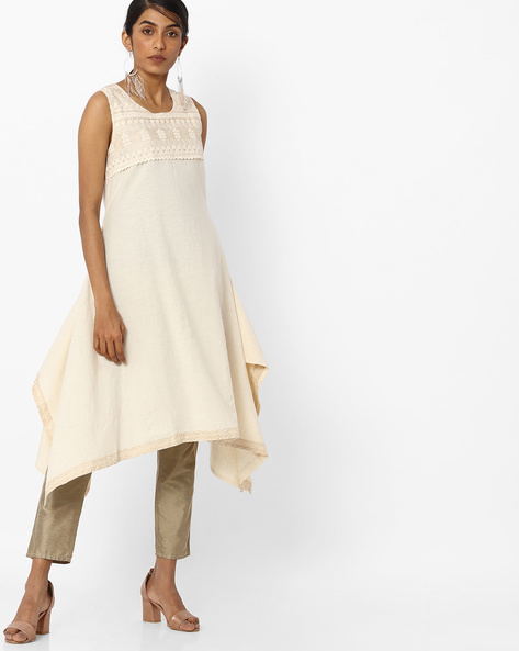 Sleeveless Kurta With Handkerchief Hemline By AVAASA SET ( Offwhite )