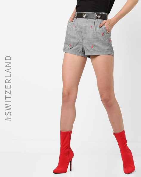 Plaid Patterned Shorts With Contrast Belt By TALLY WEiJL ( Grey )