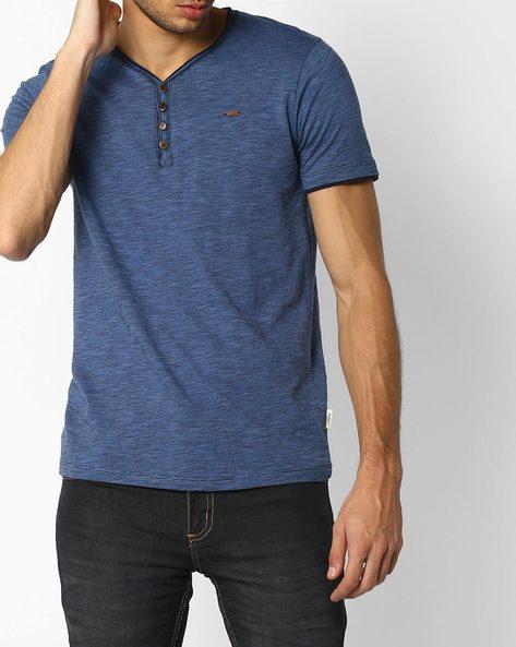 Slim Fit Slub Knit Henley T-shirt By DNM X ( Blue )