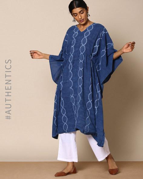 Hand Tie-Dyed Shibori Natural Indigo Cotton Kaftan By ANANDA ( Indigo ) - 460095153003