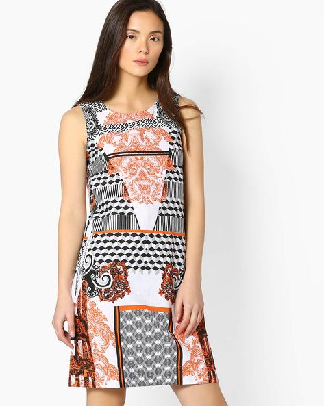 Printed Sleeveless Dress By Akkriti By Pantaloons ( Orange )