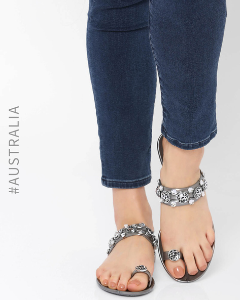 Embellished Jelly Leopard Princess Flats By Holster ( Pewter )