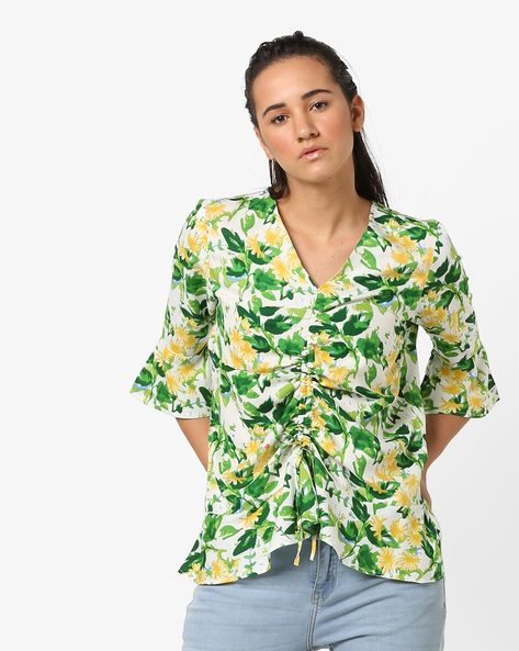Floral Print Top With Bell Sleeves By AJIO ( Green )
