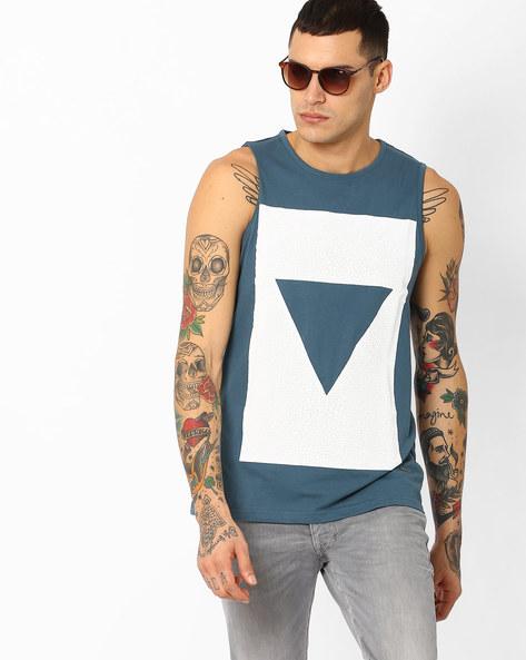 Geometric Print Slim Fit Tank T-shirt By AJIO ( Teal )