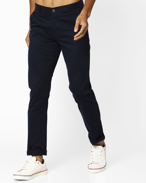 Mid-Rise Slim Fit Chinos By AJIO ( Navy )