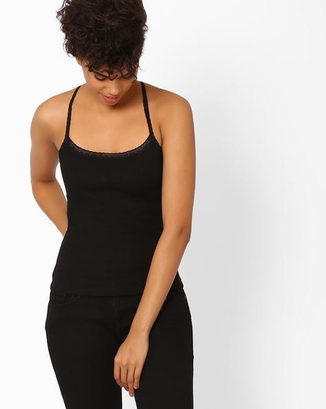 Racerback Spaghetti Top By Candies By Pantaloons ( Black )