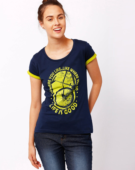 Graphic Print T-shirt With Upturned Hems By TEAM SPIRIT ( Navy )