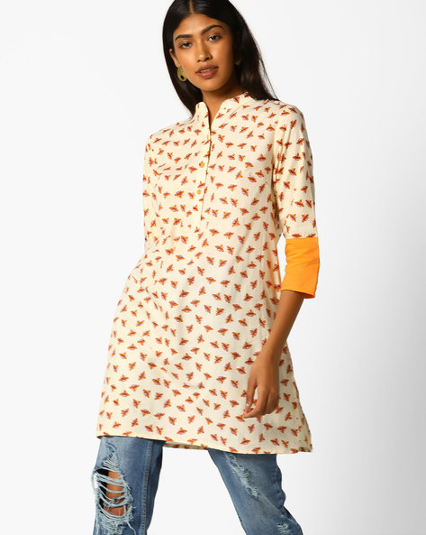 Printed Tunic With Button Placket By AJIO ( Beige )
