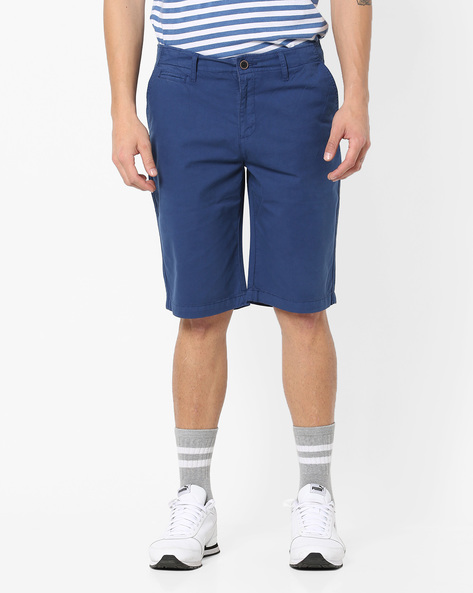 Slim Fit Mid-Rise Shorts By Nature Casuals ( Navyblue )