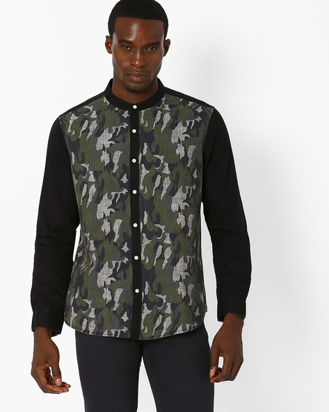 Camouflage Print Slim Fit Shirt By AJIO ( Grey )