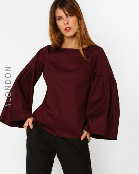 Cotton Top With Bell Sleeves By Closet London ( Wine )