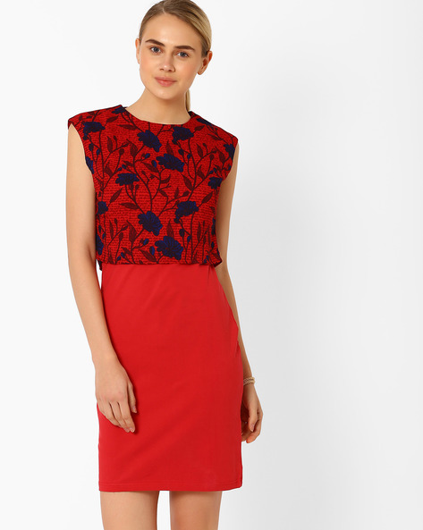 Floral Print Layered Dress By AJIO ( Red )