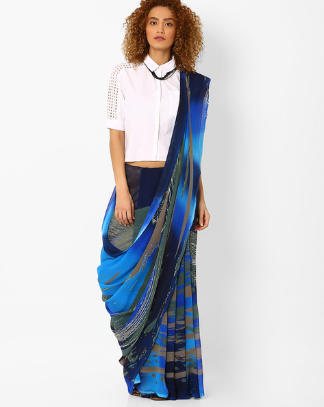 Printed Saree With Blouse Piece By Arissa ( Blue )