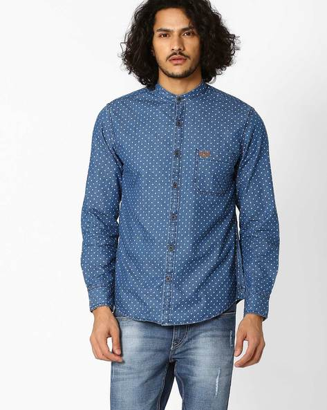 Printed Slim Fit Shirt By US POLO ( Indigo ) - 460036217003