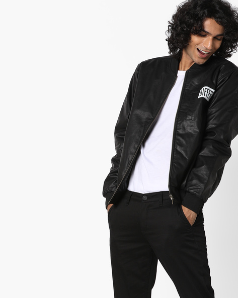 Zip-Front Bomber Jacket By AJIO ( Black )