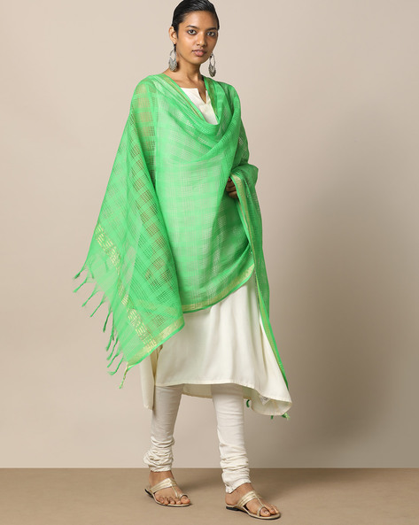 Checked Cotton Dupatta With Zari Border By Indie Picks ( Green )