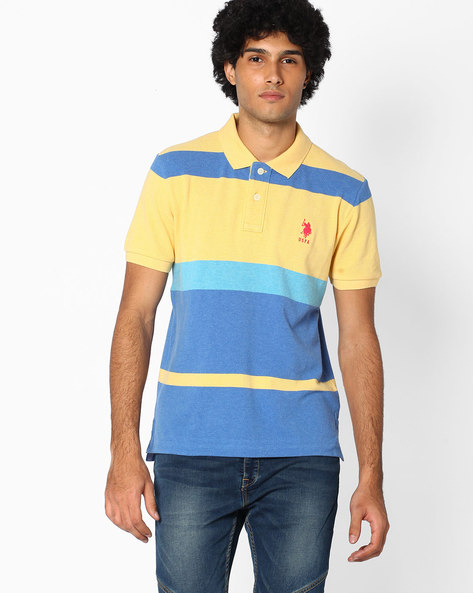 Colour-block Polo T-shirt By US POLO ( Assorted )