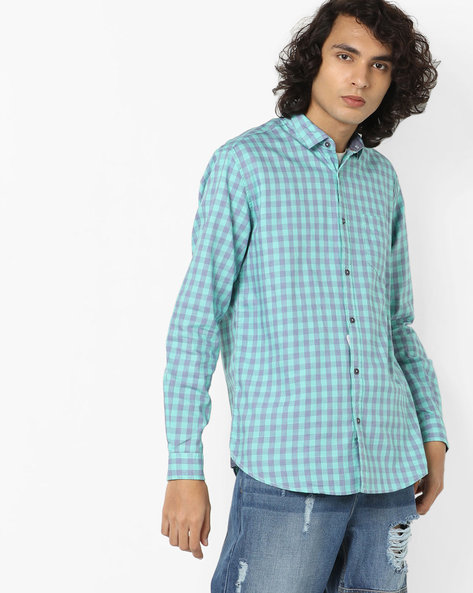 Checked Shirt With Spread Collar By British Club ( Green )