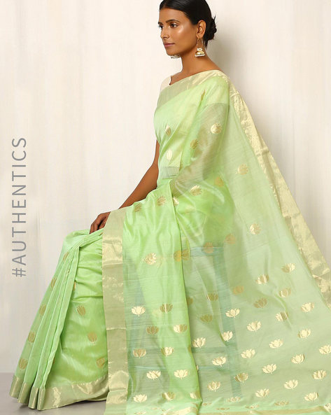 Handwoven Pure Silk Cotton Chanderi Saree By Indie Picks ( Darkgreen )
