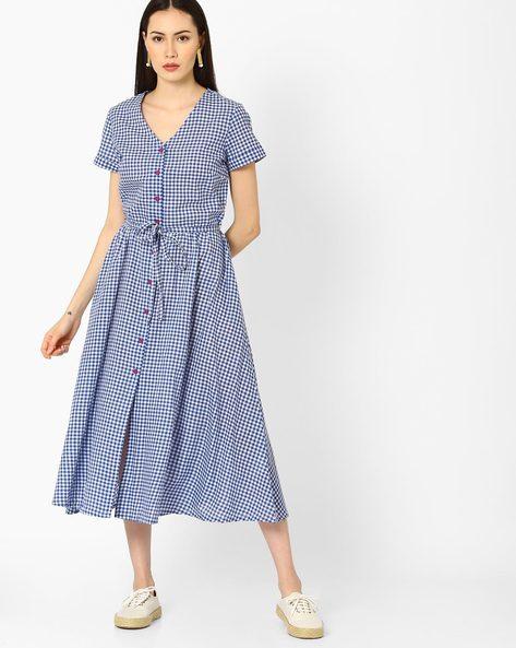 Checked Shirt Dress With Waist Tie-Up By AJIO ( Blue )