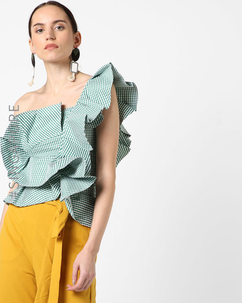 Ruffled Checked Top With One-Shoulder Sleeve By MDS ( Green )
