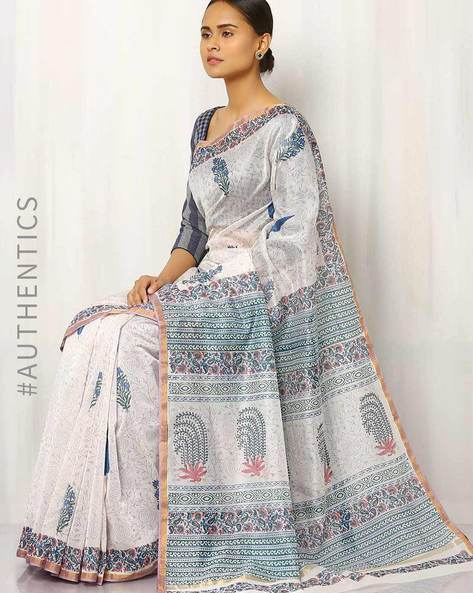 Hand Block Print Chanderi Saree By Indie Picks ( Multi ) - 460016415001