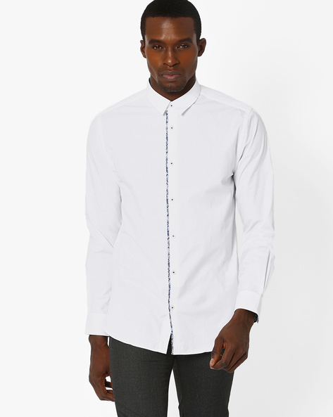 Slim Fit Shirt With Spread Collar By Jack & Jones ( White )