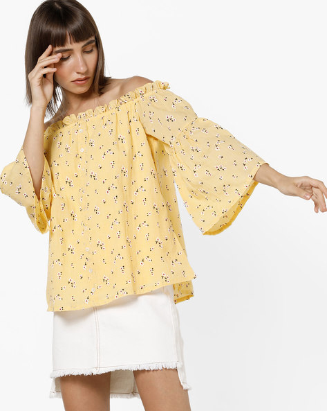 Floral Print Off-Shoulder Top With Bell Sleeves By And ( Yellow )