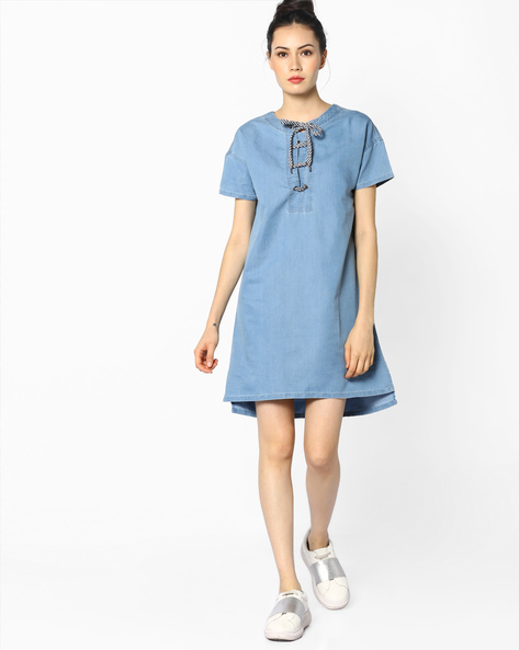 High-Low Denim Dress With Lace-Up Fastening By AJIO ( Lightblue )