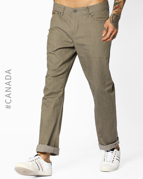 Mid-Rise Classic Fit Jeans By Point Zero ( Beige )