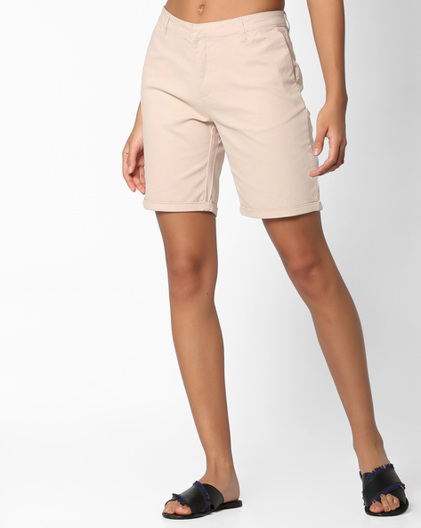 Mid-Rise Flat-Front Shorts By Project Eve WW Casual ( Beige )