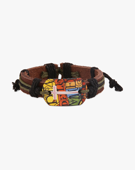 Thread Woven Faux-Leather Bracelet By ALPHA MAN ( Black )