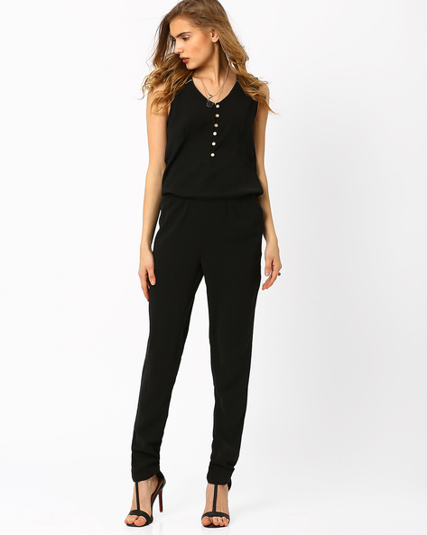 Sleeveless Jumpsuit By AJIO ( Black )