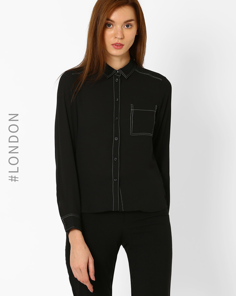 Shirt With Contrast Stitch By Marks & Spencer ( Black )