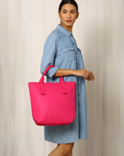 Felt Tote Bag By Indie Picks ( Fuchsia )