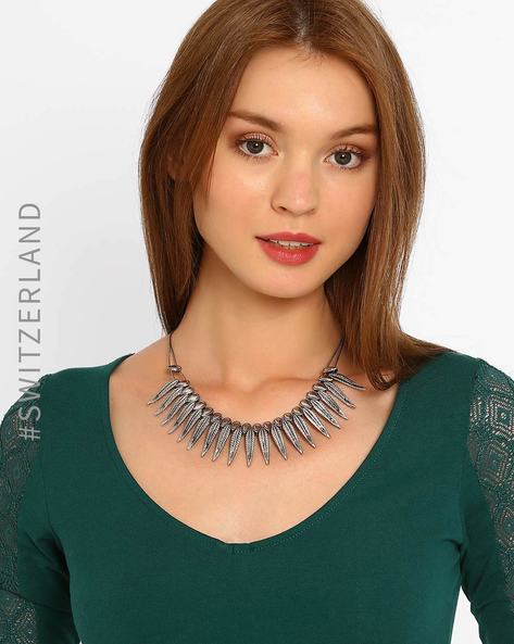 Necklace With Leaf-Shaped Pendant By TALLY WEiJL ( Silver )