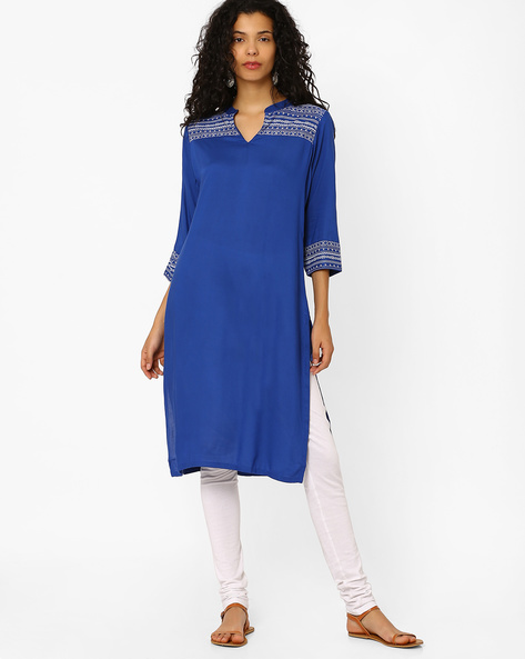 Churidar Kurta With Embroidery By AVAASA SET ( Blue )
