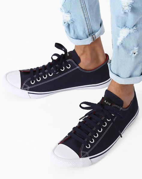 N9 Treated Canvas Classic Sneakers By AJIO ( Navy )
