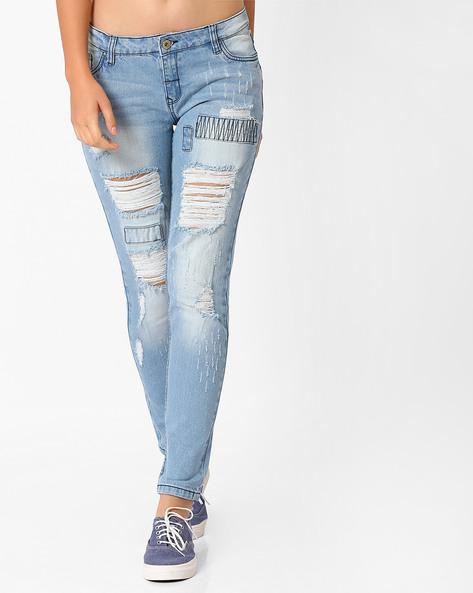 Distressed Slim Fit Jeans By AJIO ( Lightblue )