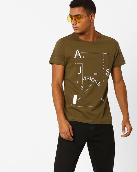 Slim Fit Printed T-shirt By AJIO ( Olive )