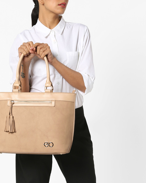 Tote Bag With Tassels By E2O ( Pink )