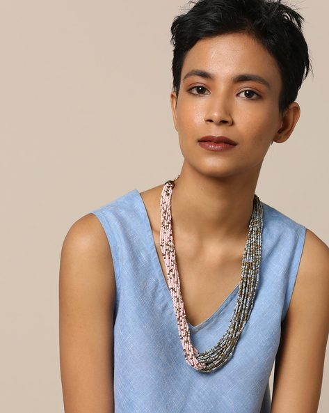 Multi-Layered Beaded Brass Necklace By Project Eve ( Multi ) - 491328690