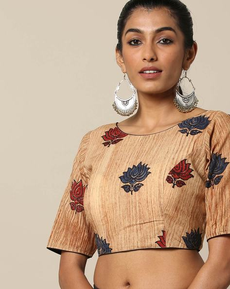 Printed Cotton Blouse With Round Neck By Indie Picks ( Yellow )