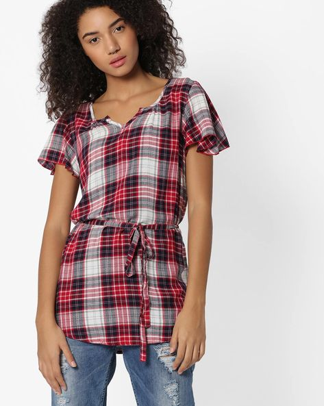 Checked Tunic With Waist Tie-Up By DNM X ( Red )