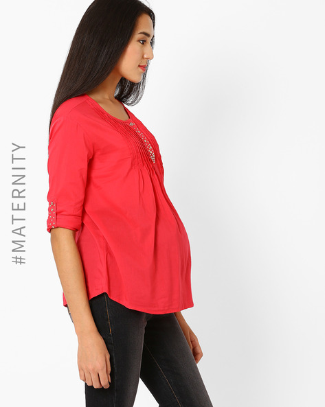 Maternity Top With Roll-Up Tabs By Preggear ( Pink )